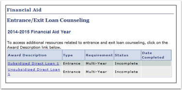 Entrance Exit Loan Counseling section