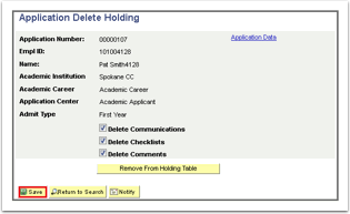 Application Delete Holding page