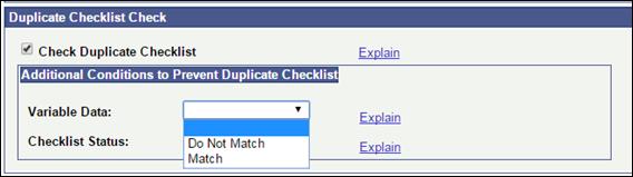 Duplicate Checklists Check