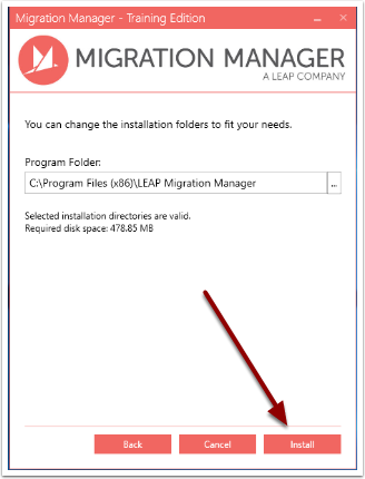 Select the location where you want to install Migration Manager Training Version