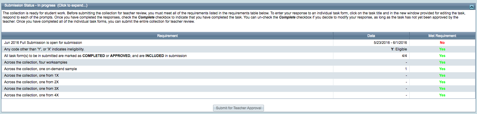 Submitting for Teacher Approval