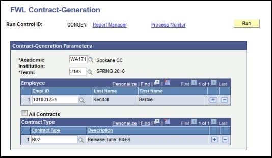 FWL Contract Generation Parameters