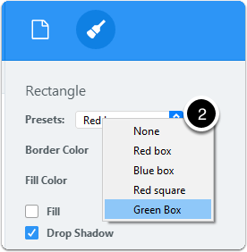Select annotation preset to apply