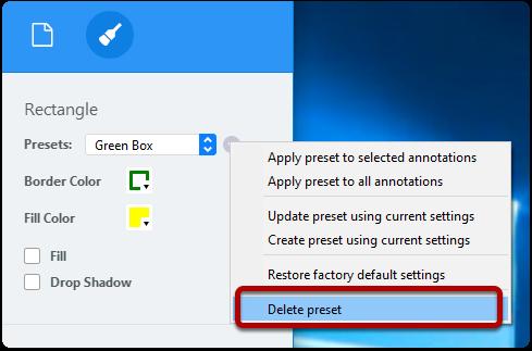 Delete annotation preset