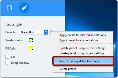 Restore factory default settings