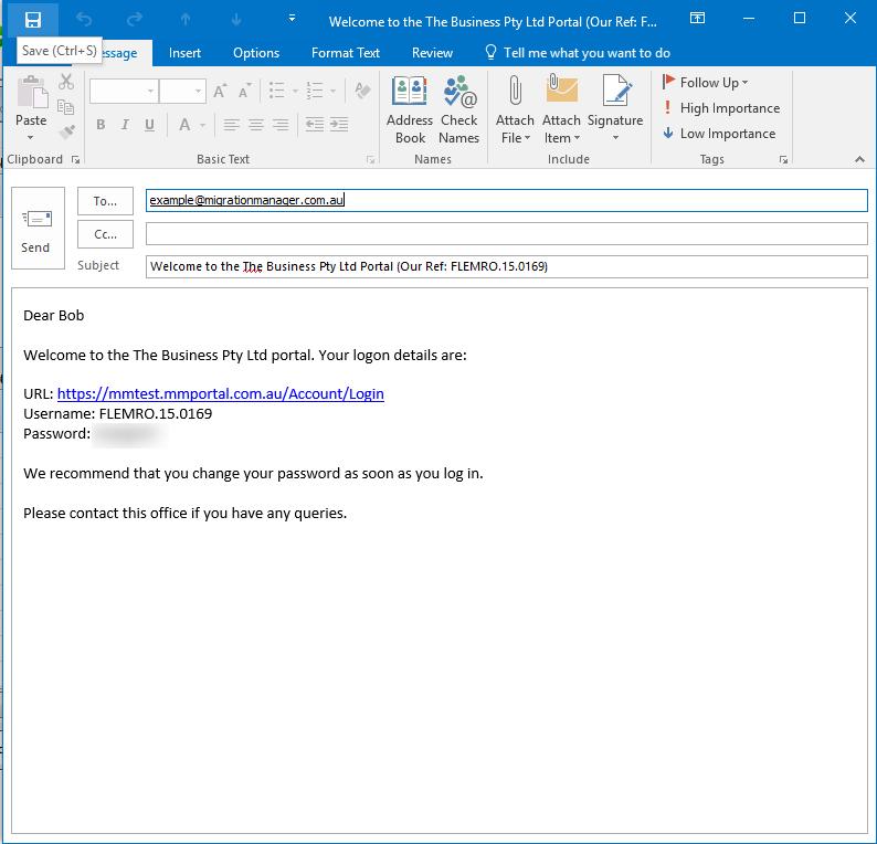 Send Portal Logon Details