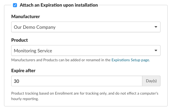 Optionally attach an Expiration upon installation