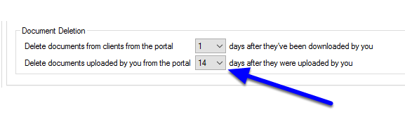 Set how long a copy of the document will remain on the Portal Server