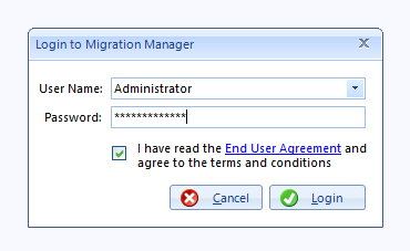 Login to Migration Manager as Administrator