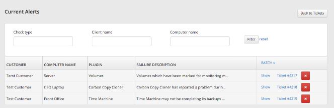 RMM Alerts Page