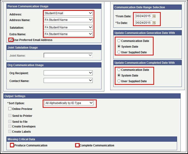 Process Parameters Tab