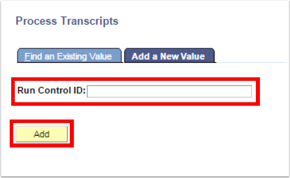 Process Transcripts Add a New Value tab