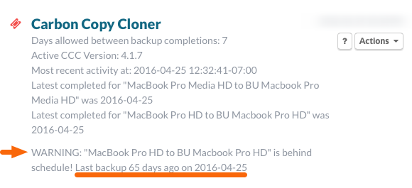 Carbon Copy Cloner Status with Warning
