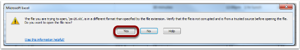 Microsoft Excel Message Window