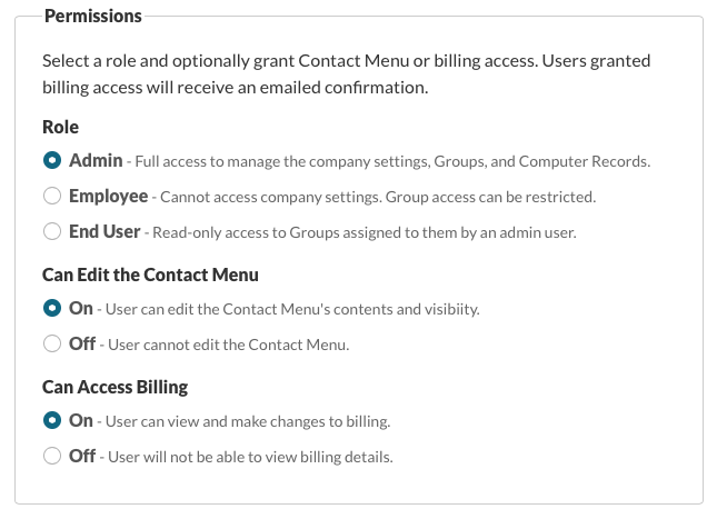 Permissions in the Server Dashboard