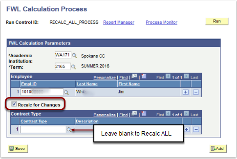 FWL Calculation Process Recalc for Changes