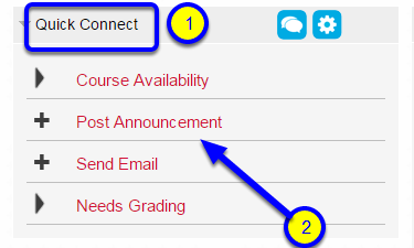 Look for the Quick Connect module and click on Post Announcement.
