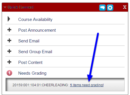 """In the expanded menu, click on the number of submissions that need to be graded followed by the """"items need grading!"""" link."""