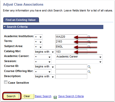 Adjust Class Associations Find an Existing Value