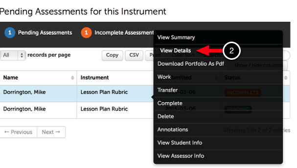Step 2: View Assessment Details