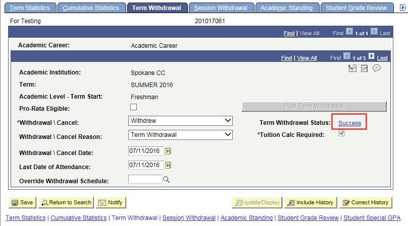Term Withdrawal tab
