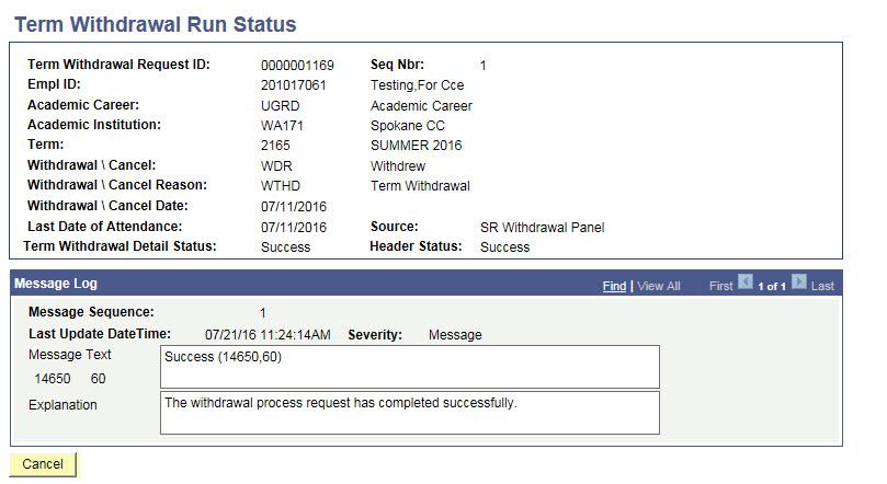Term Withdrawal Run Status page