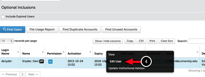 Step 2: Locate and Edit User