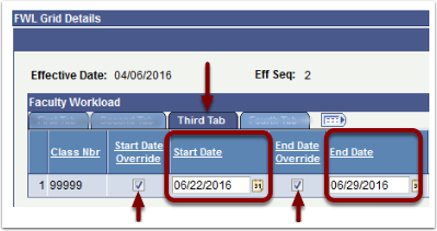 Faculty Workload Start Date End Date