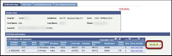 HCM Data Page tab