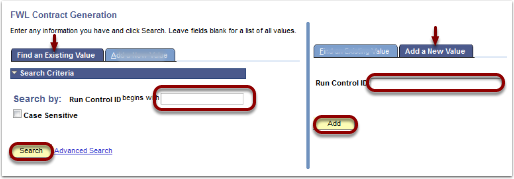 Find an Existing Value or Add a New Value tab