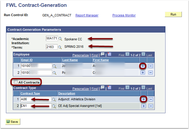 Contract Generation Parameters