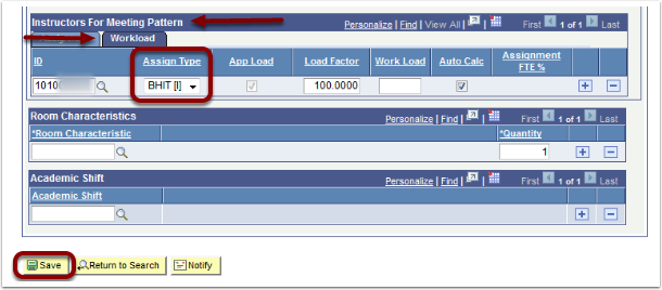 Instructors for Meeting Pattern Workload tab