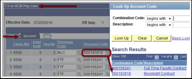 Look Up Account Code