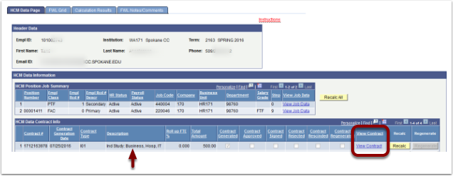 HCM Data Page