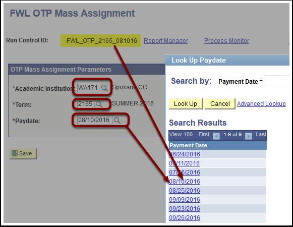 FWL OTP Mass Assignment Parameters