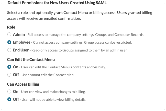 Default Permissions for New Users Created Using SAML