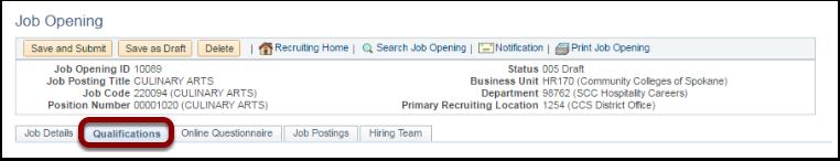 Qualifications Tab