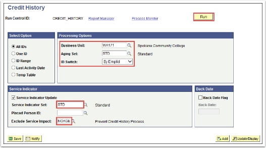 Credit History page