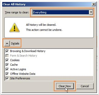Clear All History page