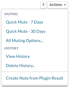 Plugin Actions menu