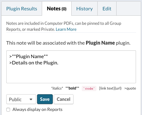 Enter details on Note Associated with Plugin