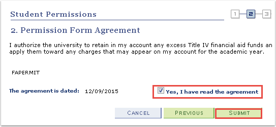 Permission Form Agreement Submit button