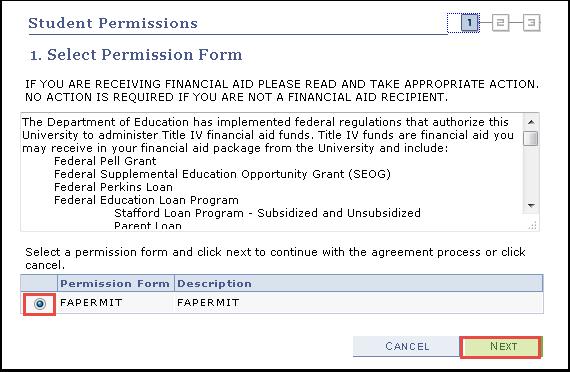 Select Permission Form