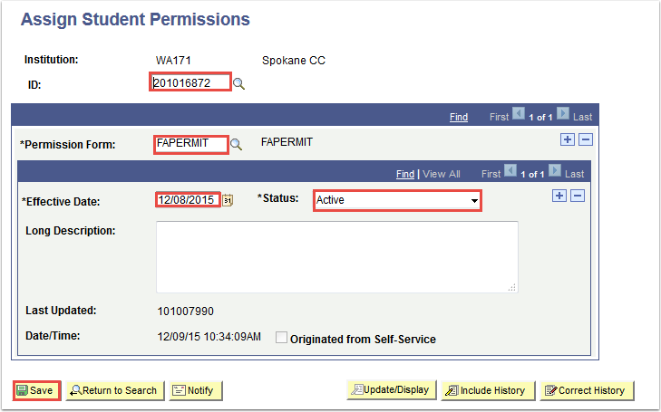 Assign Student Permissions