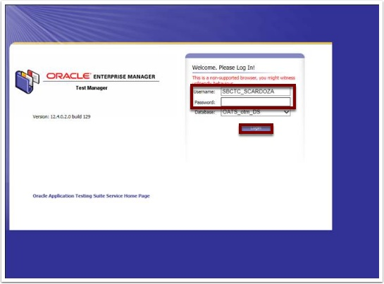 Oracle Log In page