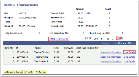 Review Transactions page
