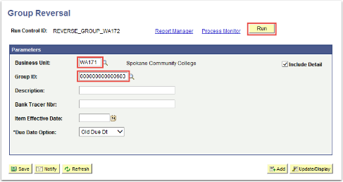 Group Reversal Parameters page