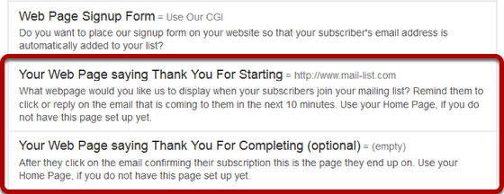 "You will be taken back to the previous screen where you will see two options under ""Web Page Signup Form"" is now active:"