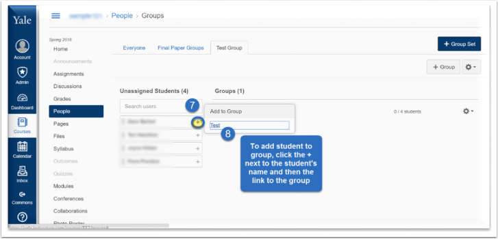 To add a student to a specific group, click the + next to the student's name and then click the link to the group.