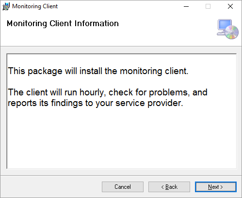 Monitoring Client installed.